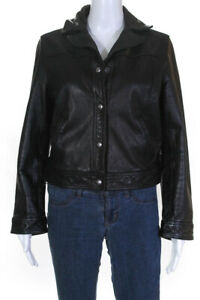 Rebecca Minkoff Womens Leather Gide Jacket Black Size Large 12881906