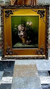 ANTIQUE ROSES FLORAL PASTEL PAINTING IN GILT CARVED CUSTOM FRAME