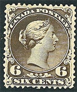 1868 Canada Stamp #27 6c Mint Lightly Hinged F/VF Regummed