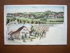 Litho Hergenstadt bei Adelsheim - Ansicht u.Gasthaus zur Linde , gel.1913 ,RRR !