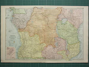 1900 LARGE VICTORIAN MAP ~ CENTRAL AFRICA EUROPEAN POSSESSIONS SALISBURY PLAN
