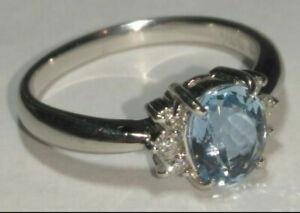Solid platinum natural aquamarine and diamond ring 4.90 grams - sz 6
