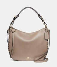 NWT Coach Sutton Leather Hobo Crossbody Bag w/ Rivets 76436 STONE Taupe $375+
