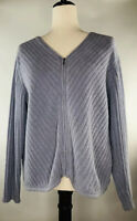 J. Jill Purple Lavender Cardigan Full Zip Up Plush Sweater Top Size M V Neck EUC