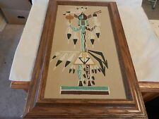 Colorful Framed Navajo Sand Art Red Side People of Winter by Lorene Fragria