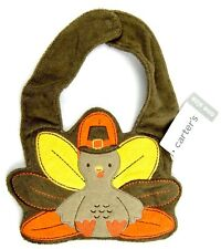 Carters Thanksgiving Baby Bib Multicolor Terrycloth Turkey Snap Close One Size