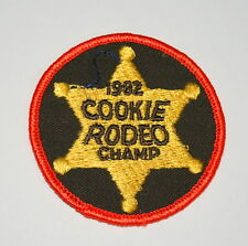 Vintage 1982 Girl Scouts Cookie Rodeo Star Champ Brown Patch NOS New