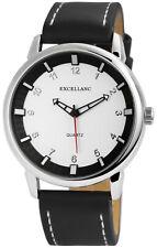 Excellanc Herrenuhr Zifferblatt Silberfarbig Armband schwarz Se1074