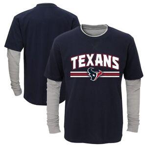 "Houston Texans Outerstuff Boys Navy Blue ""Bleachers"" LS Faux Layer T-Shirt"