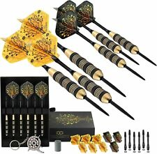CC-Exquisite Professional Steel Tip Darts Set | Brass Barrels 12 Flights, Black