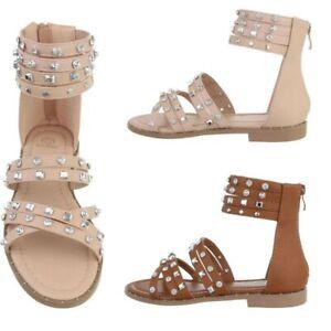 Sandali flat scarpe donna tacco basso sandaletti ecopelle fasce caviglia borchie