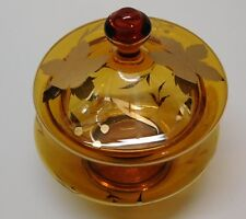 Amber Glass Bowl with Lid Made in Romania Elegant Gold Leaves and Trim Vintage