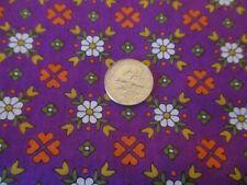 VINTAGE Fabric Cotton  VIP Cranston Fabric  Purple White Daisies Orange Flowers