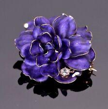 Vintage Estate Blue Enameled Flower Brooch 14k Yellow Gold