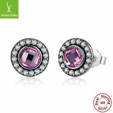 S925 Sterling Silver Brilliant Legacy Stud Earrings With Purple Clear CZ Jewelry