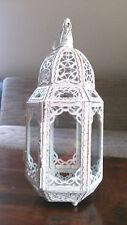 METALL LATERNE Orient weiss antik MAROKKANISCHE LAMPE Nostalgie Marakesch Glas