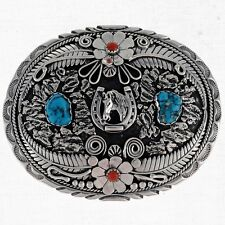 Navajo Indian Jewelry Turquoise and Coral Silver Native American Belt Buckle VB