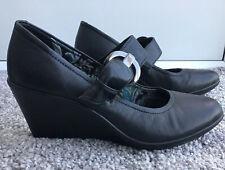 HOTTER UK 6 Black Mary Jane Wedge Shoes Buckle Adjustable Strap Court Smart