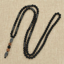 Men Hematite Carving Bead Necklace Long Chain Rope Fashion Jewelry New Design