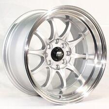 15x8 MST MT11 4x100/4x114.3 +0 Silver w/Machined Lip Wheels (Set of 4)