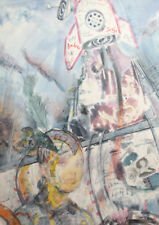 Abstract Surrealist print portrait rocket Signed