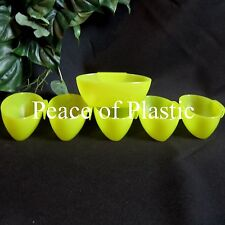 Tupperware NEW Open House Little Dippers Hang On Dishes Bowls Lot 6 Parrot Green