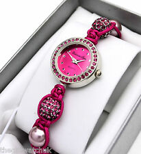 Ladies Hot Pink Crystal Ball Bling & Bead Cord Bracelet Watch, Collection Bijou