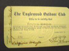 Englewood Outdoor Club Women's Club Membership Card 1939