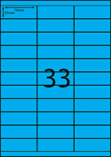 A4 Labels 100 sheets- FLUORO BLUE -33 labels per page
