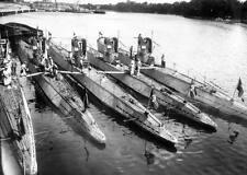 WWII B&W Photo German U-Boats in Harbor  WW2 World War Two Kriegsmarine / 7031