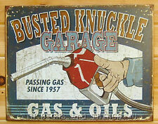 Busted Knuckle Gas and Oil TIN SIGN funny metal vtg garage pump wall decor 1738