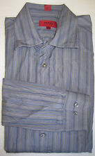 MENS HUGO BOSS L/S Sz XL BUTTON FRONT CASUAL SHIRT GRAY W/ BLUE & WHITE STRIPES