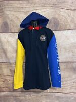 Tommy Hilfiger Rugby Polo Hoodie Long Sleeve Mens Medium Colorblock
