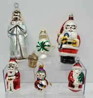 Vintage Blown Glass Christmas Tree Ornaments- Santa, Snowman, Angel, Candy