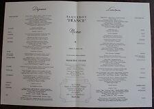 MENU PAQUEBOT FRANCE. Première classe, samedi 24 Mars 1962.