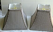 "Pair of Fabric White w Brown Striped Rectangle Bell Shaped Lamp Shade 7"" t"