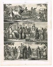 ORIGINAL ANTIQUE PRINT VINTAGE 1851 ENGRAVING CHINESE PERSIAN MEDES  EGYPTIAN