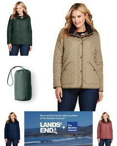 NWT Lands End Womens Plus Quilted Packable Barn Insulated Jacket 1X, 2X, 3X