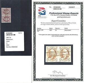 US 1847 Scott #1 PR Franklin Usedt Stamp Pair with 2017 PSE certificate!  美 邮