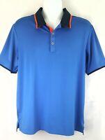 Adidas Climacool Mens Golf Polo Shirt Large Short Sleeve 3 Button Blue Orange L