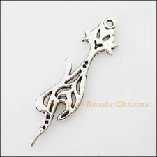 5Pcs Tibetan Silver Tone Lovely Animal Cat Charms Pendants 10x42mm