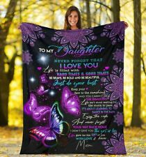 Personalized To My Daughter DAD MOM Butterfly Gift Daughter Plush Fleece Blanket