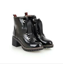Women Patent Leather Pointed Toe High Heels Chunky Casual Lace Up Ankle Boots