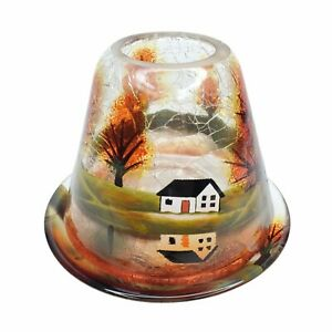 Yankee Candle Crackle Glass Jar Shade/Plate Autumn Fall Woods White House Cabin