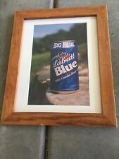 "Labatt Blue BIG BLUE beer Can Picture w/ Wood Frame Matted 16.5"" X13.5"""