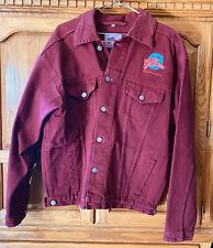 Planet Hollywood Jacket Puerto Vallarta Denim Vintage 90's Size Lg, Dark Red