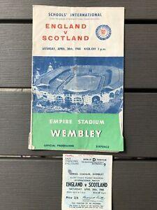 England v Scotland Schoolboy International Programme 30/04/60 With Match Ticket