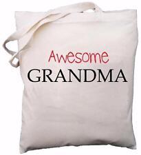 Awesome Grandma - Natural Cotton Shoulder Bag - Gift