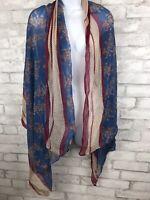 Boho Oversize Shawl Scarf Wrap Floral Blue Pink Multiple Print Lightweight 65X34