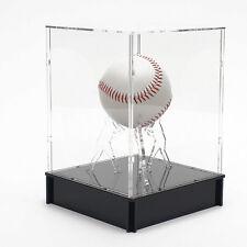 [NEW]CLEAR Acrylic Baseball Holder & Case with Black Acrylic Base